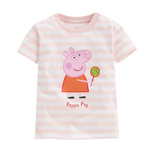 Peppa Pig條紋印花T恤-09-小童