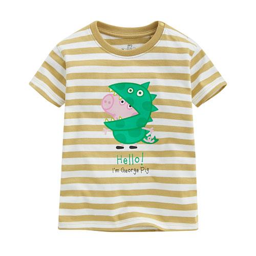 Peppa Pig條紋印花T恤-11-小童