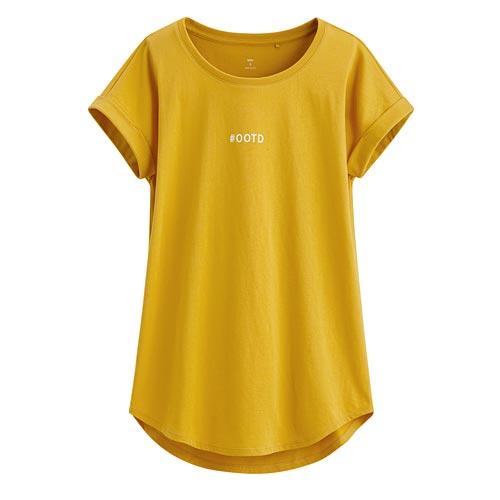 文字印花袖口反折印花T恤-03-女