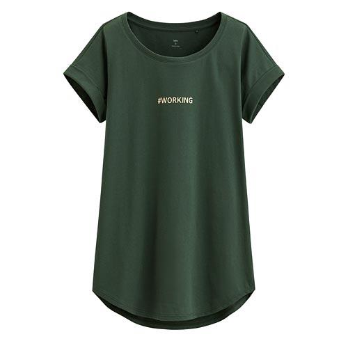 文字印花袖口反折印花T恤-06-女