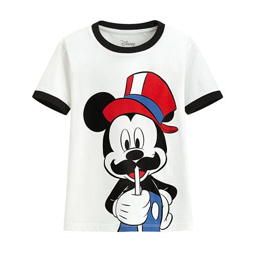迪士尼系列羅紋配色印花T恤-32-童