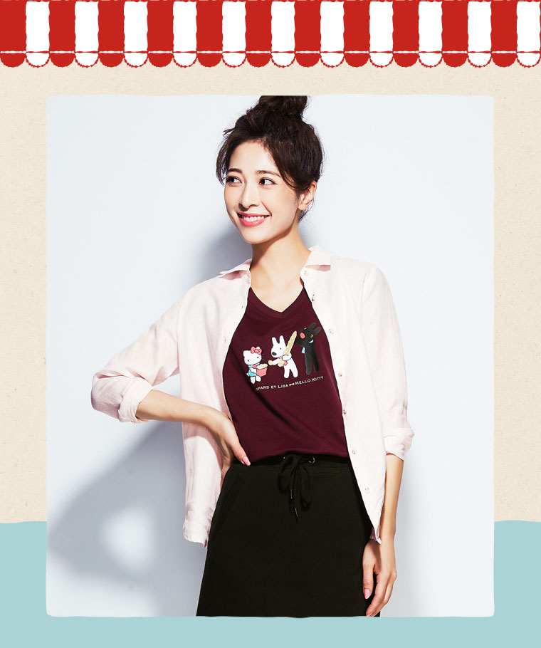 Hello Kitty X麗莎和卡斯柏印花V領T恤-02-女