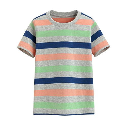 快乾棉條紋圓領T恤-童