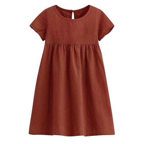棉麻短袖洋裝-童