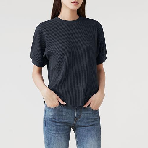 華夫格圓領短袖T恤-女