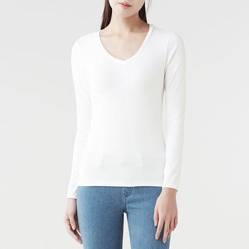 棉質彈性羅紋V領長袖T恤-女