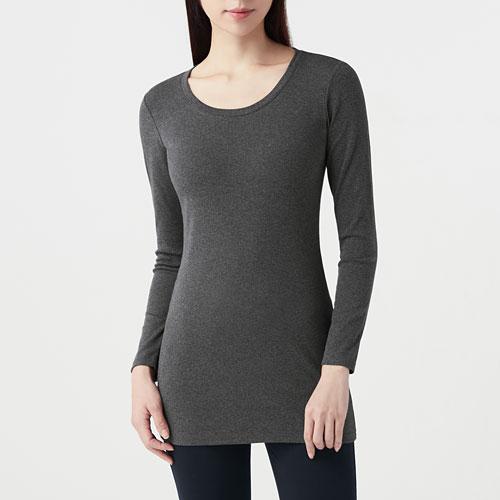 棉質彈性羅紋長版T恤-女