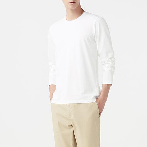 純棉圓領長袖T恤-男