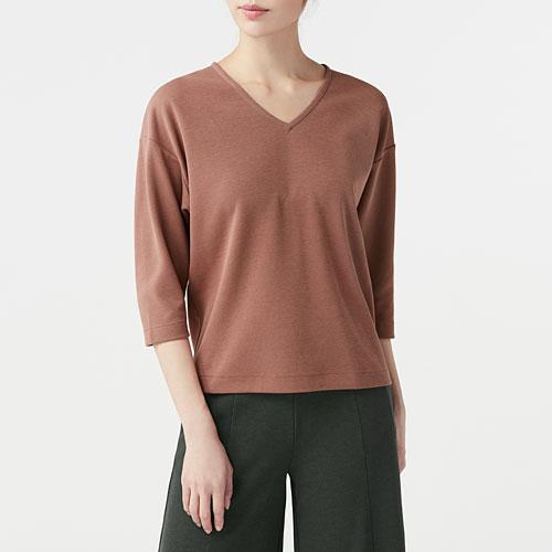 厚織羅紋V領T恤七分袖-女