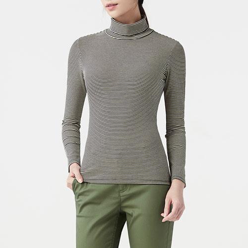 棉質彈性羅紋條紋高領T恤-女