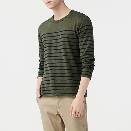 厚磅純棉條紋圓領T恤-男
