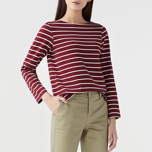厚磅純棉條紋船型領T恤-女