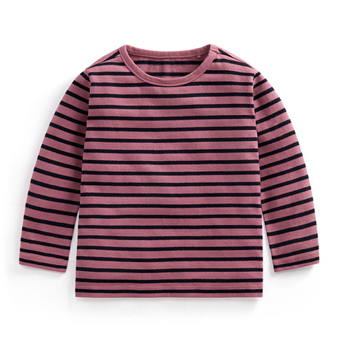 厚磅純棉條紋圓領T恤-童