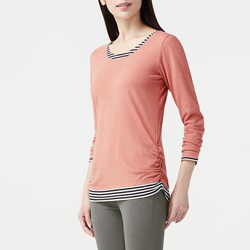 純棉層次長袖T恤-女
