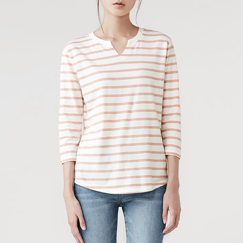純棉條紋V領八分袖T恤-女