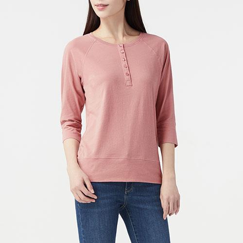 純棉五分袖開襟T恤-女