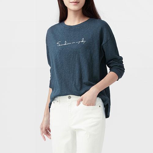 竹節棉文字落肩寬版T恤-女