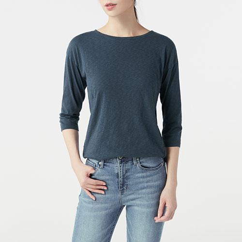 竹節棉七分袖T恤-女