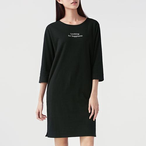 純棉寬版七分袖洋裝-女