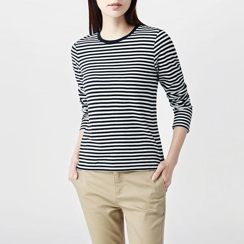 純棉條紋T恤-女
