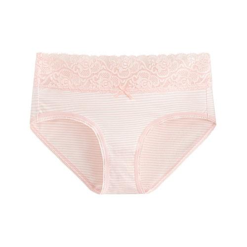 棉質蕾絲條紋中腰內褲-女