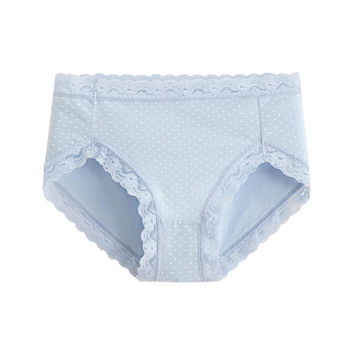 棉質蕾絲印花中腰內褲-女