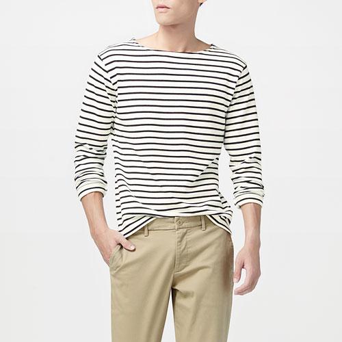厚磅純棉條紋船型領T恤-男