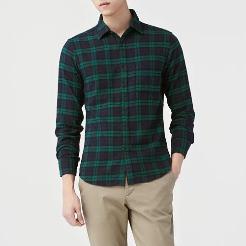 法蘭絨格紋襯衫-男
