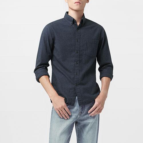 法蘭絨長袖襯衫-男