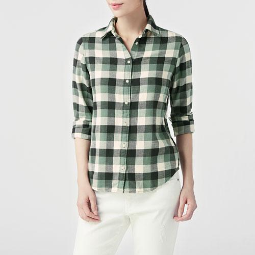 法蘭絨格紋襯衫-女