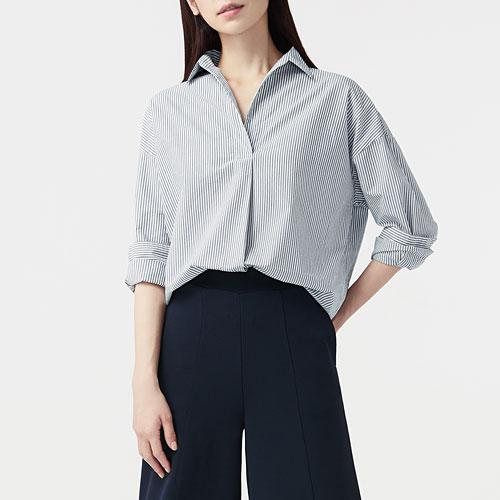 寬版柔棉條紋襯衫-女