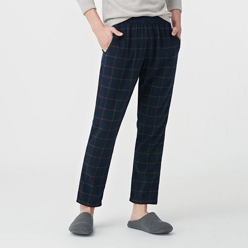 法蘭絨格紋長褲-男