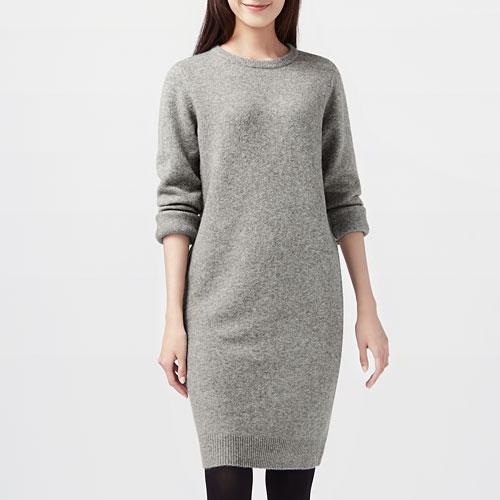 粗針羊毛混紡針織洋裝-女