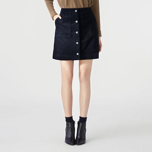 高腰燈芯絨排釦裙-女