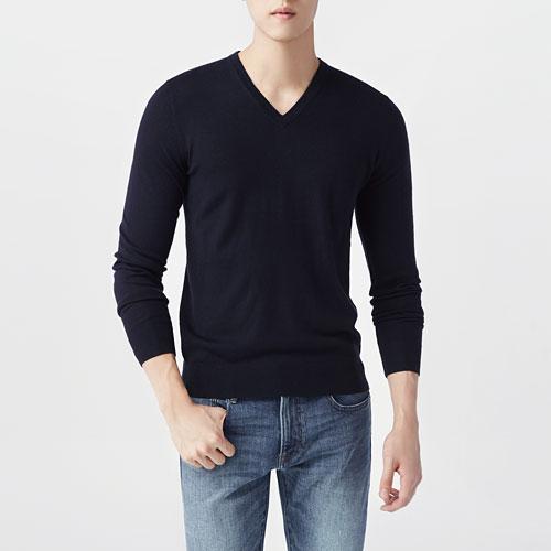 美麗諾羊毛混紡V領毛衣-男