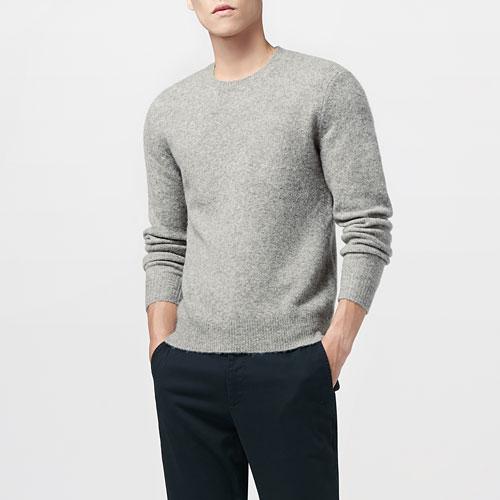 粗針羊毛混紡圓領毛衣-男