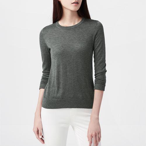 美麗諾羊毛混紡圓領毛衣-女