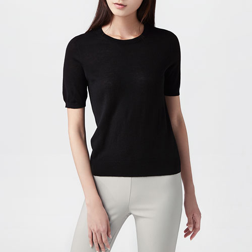 美麗諾羊毛混紡短袖毛衣-女