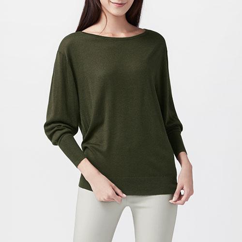 美麗諾羊毛混紡寬版針織衫-女