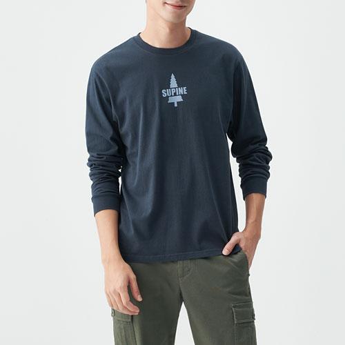 文字印花長袖T恤-02-男