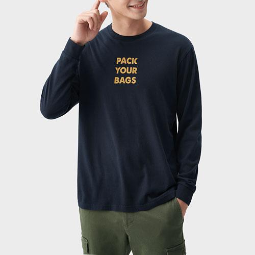 文字印花長袖T恤-04-男