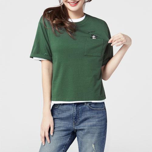迪士尼系列口袋印花短版T恤-51-女