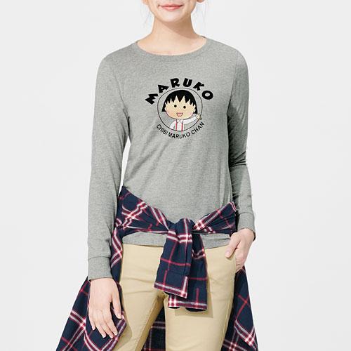 櫻桃小丸子印花長袖T恤-02-女