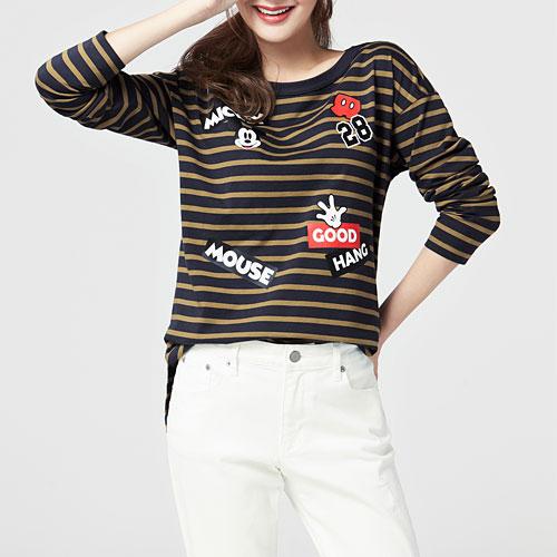 迪士尼系列條紋印花寬版T恤-02-女