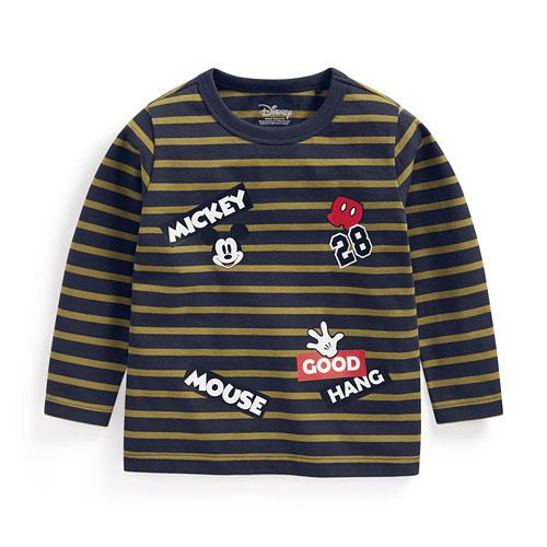 迪士尼系列條紋印花長袖T恤-02-童