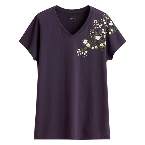 Hallmark印花V領T恤-03-女