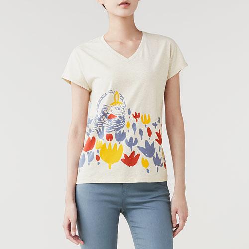 Moomin印花V領T恤-01-女