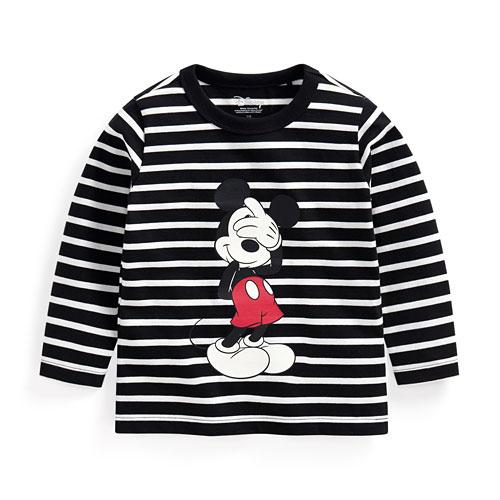 迪士尼系列條紋印花長袖T恤-01-童