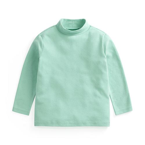 磨毛羅紋立領長袖T恤-童