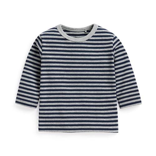 磨毛羅紋條紋長袖T恤-Baby